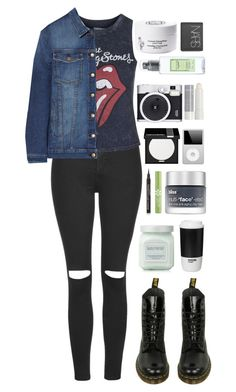 """Doom And Gloom"" by ellac9914 ❤ liked on Polyvore featuring Topshop, Current/Elliott, Dr. Martens, MAKE UP FOR EVER, Diptyque, Laura Mercier, Retrò, Bliss, ROOM COPENHAGEN and Per-fékt Beauty"
