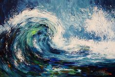 """""""Waves XL 1""""   vibrant maritim original Abstracted sea, water, wind, waves, Modern vibrant artworks. Blue, colorful, martim  Each wave is fascinating: it is unpredictable, contains energy, shows the cycle of becoming and passing away and is unique. Blue-turquoise, dynamic-refreshing abstracted water movement. Modern and expressionist acrylic painting.  During some beautiful beach walks by the sea I love to gather inspiration for paintings like this: wind in the hair, sea smell, listening to…"""