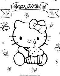 Free Happy Birthday Cards Printables Hello Kitty Coloring Hello Kitty Colouring Pages Hello Kitty Birthday