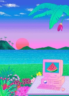 Image uploaded by demrip. Find images and videos about art, kawaii and pixel on We Heart It - the app to get lost in what you love. New Retro Wave, Retro Waves, Art Vaporwave, Art Magique, Vaporwave Wallpaper, Glitch Art, Arte Pop, Retro Aesthetic, Oeuvre D'art