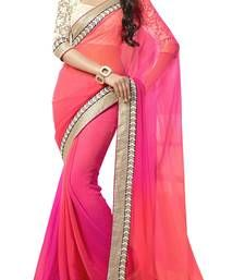 Buy Pink Embroidered Georgette Saree With Blouse Piece designer-embroidered-saree online