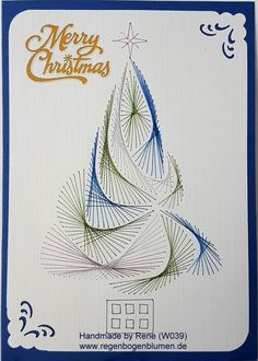 Grußkarten-Set Weihnachten 039 - Motiv: Weihnachtsbaum 09_2 - Copyright: Stitchingards.com - Doppelkarte mit Umschlag Format A6