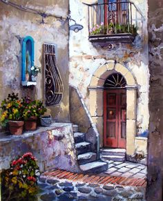 Francesco Mangialardi - Pinter from Calabria Italy Pictures To Paint, Art Pictures, Photos, Watercolor Landscape, Watercolor Paintings, Pintura Colonial, Art Plastique, Beautiful Paintings, Love Art