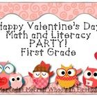 Happy Valentine's Day Math and Literacy Party! First Grade includes a 12-panel reading mini-book for students, and the math includes coloring/sorti...