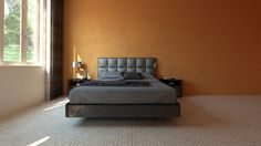Modern spacious bedroom with orange wall
