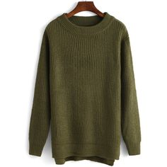High Neck Slit Army Green Sweater ($17) ❤ liked on Polyvore featuring tops, sweaters, green, green top, army green top, pullover sweater, long sleeve pullover and green sweater