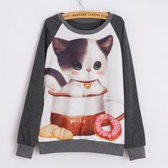 Gray Womens Crew Neck Cat Cup Printed Jumper Printed Sweatshirt ($19) ❤ liked on Polyvore featuring tops, hoodies, sweatshirts, grey, grey sweatshirt, sweat shirts, cat sweatshirt, gray sweatshirt and gray top