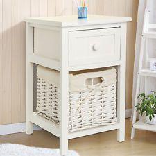 Modern Chic White Bedside table Fresh Look Small Storage Wicker Basket UK