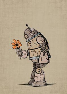 Robot the flower ☮~ Retro ROBOT ❤ Vintage illustration, design and poster art.