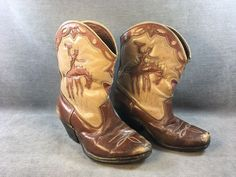 Vintage 1950's Kids/Childs COWBOY BOOTS Cut Out BRONCO leather BOY western WOW!