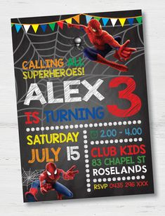 Calling all Superheroes! Spiderman Birthday Invitations, All Superheroes, Rsvp, Colours, Prints, Artwork, Kids, Young Children, Work Of Art