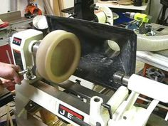 Building a lathe stand dust hood mount