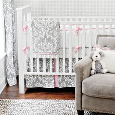 In Love! New Arrivals Crib Bedding Stella Gray. @Layla Grayce #laylagrayce