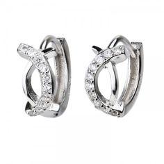 Diamond C Silver Huggie Earrings - Hoop & Huggie Earrings -  See more huggie designs at Affici.com