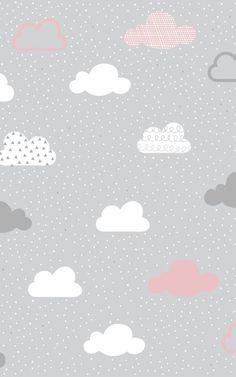Rosa und graue wolken muster wandbild Laurianna Beibide Dekoration Pink and gray clouds pattern mura Wallpaper Pink And White, Wallpaper Pastel, Cloud Wallpaper, Baby Wallpaper, Cute Patterns Wallpaper, Iphone Background Wallpaper, Trendy Wallpaper, Wall Patterns, Cute Wallpapers
