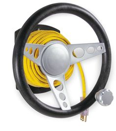 "Grab the ""suicide knob"" on the outer ring of this classic hotrod designed steering wheel to easily wind up 100 feet of electrical cord. Avoids tangles and keeps cords neat and out of the way. More fun than doing doughnuts! Mounts directly to wall with included hardware. Holds up to 100 feet of cord. $16.95"