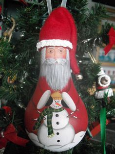 Santa with snowman lightbulb ornie