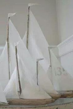 Drift wood boats with hankie sails