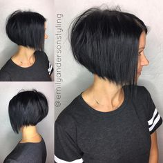 Choppy Angled Black Bob - I like the stacked back and wispy layers in front... not black