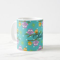 Adorable Cartoon Style Owls on Branch Print Coffee Mug - decor gifts diy home & living cyo giftidea