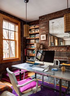 30 Creative Home Office Ideas: Working from Home in Style - pop up colors in the room