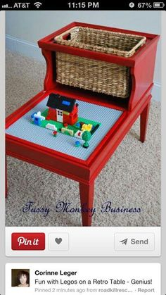 Fussy Monkey Business lego table after - this is insanely cool. My kids are total lego heads. Upcycled Crafts, Diy Crafts, Repurposed Furniture, Diy Furniture, Vintage Furniture, Furniture Plans, Bedroom Furniture, Plywood Furniture, Furniture Projects