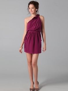 Sheath / Column One Shoulder Ruffles Sleeveless Short Homecoming Dress
