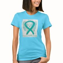 Polycystic Kidney Disease Teal Awareness Ribbon Angel Art Personalized Shirts with Custom Color and Message Options Create Awareness, Awareness Ribbons, Social Awareness, Mental Illness Awareness Week, Polycystic Kidney Disease, Teal Ribbon, Ribbon Shirt, Custom Shirts, Personalized Shirts