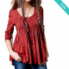 Boho Vintage Long Sleeve Drapped Shirt - Boho Vintage Long Sleeve Drapped…