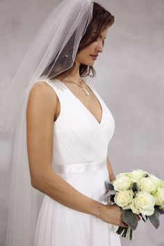 Debut floor touching Grecian bridal style dress