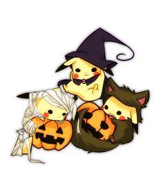 Pikachu (by ねこ, Pixiv Id Halloween 🎃 Pokemon Halloween, Anime Halloween, Pokemon Fan Art, Gif Pokemon, Pokemon Pins, Pokemon Party, Anime Chibi, Kawaii Anime, Kawaii Cute