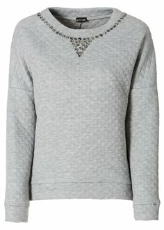 #grey quilted #sweater with #rhinestones from #bodyflirt