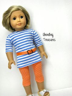 American Girl doll clothes, 18 inch doll clothes, American Girl clothes, blue/white striped tunic, orange/white leggings and orange belt