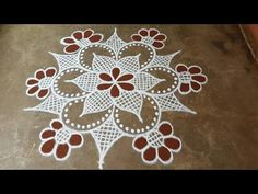 Navarathri special rangoli//flower padi kolam// pandaga muggulu// easy r. Indian Rangoli Designs, Rangoli Designs Latest, Rangoli Designs Flower, Rangoli Border Designs, Rangoli Designs Images, Rangoli Ideas, Rangoli Designs With Dots, Flower Rangoli, Rangoli With Dots