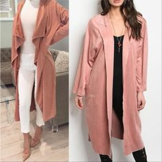 DUSTY PINK SUEDE DUSTER JACKET
