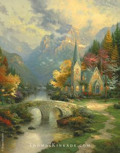 "Collector response to our newest release in the ""Chapels of Nature Collection"" - ""Valley Chapel"" - has been overwhelming! Thomas Kinkade began painting this collection in 1998, with ""The Mountain Chapel"". He was inspired to paint this piece on one of his visits to the Rocky Mountains. To learn more about ""The Mountain Chapel"" and the rest of this 6-piece collection, click on this Pin."