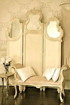 LOVE THE SCREEN-maybe DIY with 3-4 bifold doors and mirrors--- French boutique Bedroom in the making