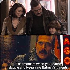Lauren Cohan (Maggie) and Jeffrey Dean Morgan (Negan) from The Walking Dead play Batman's parents.