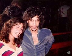 Rare Prince photo! Prince poses with a fan at the Paradise, 1980.