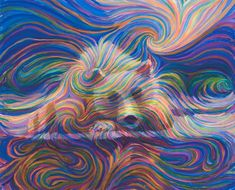 """Based on the painting """"Bear Mountain"""" by energy artist Julia Watkins, this is a top quality, museum grade giclee print where you can see individual brush marks from the original."""