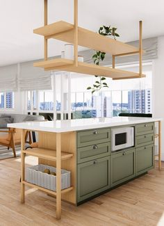 """Modern Kitchen Design Ideas,Inspiring Kitchen Decor Ideas That& the other side of the island 🏝 Yes! It is bicolor 😍 This open side with niches makes this """"box"""" lighter righ. Modern Kitchen Design, Interior Design Kitchen, Home Decor Kitchen, Home Kitchens, Suspended Shelves, Cocinas Kitchen, Casa Real, Green Kitchen, Minimalist Kitchen"""
