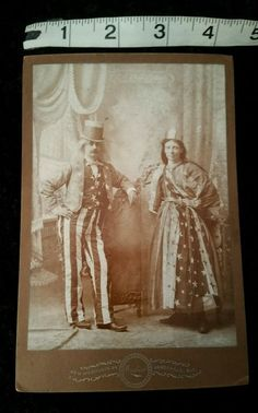 Antique Vintage Cabinet Photo of Patriotic Man & Woman 1800s 1900s Photography
