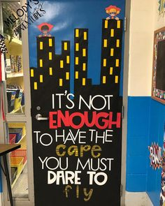What better way to welcome your students than these ideas for bright classroom doors. (They make great bulletin boards, too! Superhero School Theme, Superhero Bulletin Boards, Superhero Classroom Decorations, Classroom Bulletin Boards, School Themes, Classroom Themes, Superhero Academy, Superhero Ideas, Class Displays
