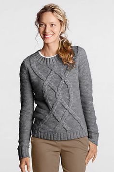 Women's Long Sleeve Blend Cable Crew Sweater from Lands' End