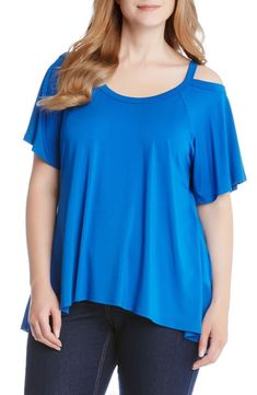 d459750f0 Karen Kane Blue Flutter Sleeve Cold Shoulder Women's Top Blouse Plus Size  New #KarenKane #