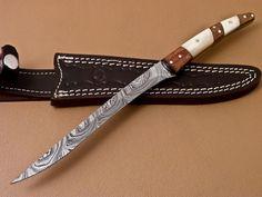 Handmade Damascus Steel Fixed Bladed Fillet Knife, Knives And Swords, Damascus Steel, Katana, Horns, Blade, Artwork, Fishing, Handmade