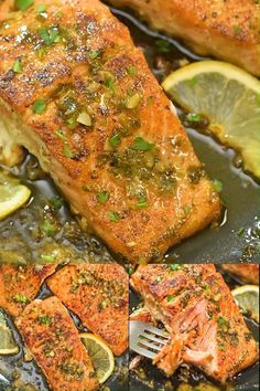 Cajun Salmon - This recipe is a true delight. The pan-seared, Cajun-seasoned salmon covered with garlic-butter sau - Cajun Recipes, Seafood Recipes, Dinner Recipes, Cooking Recipes, Healthy Recipes, Simple Fish Recipes, Whole Fish Recipes, Cooking Pork, Lunch Recipes