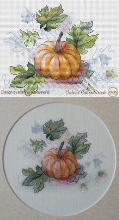 Must have fall cross stitch pattern. This amazing aquarelle pumpkin is a great addition to the cross stitch collection. Design done by Kseniya Adonyeva and available at Julia's CrossStitchClub for special autumn price. DMC colors. Easy-to-read chart. Digital download.
