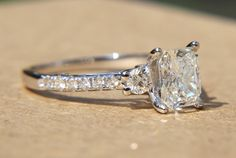 Certified - 1.90 carats - RADIANT cut Diamond Engagement Ring - 14k White gold-  weddings - brides - Bp018. $7,000.00, via Etsy.
