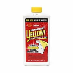 Whink No More Yellow Stain Remover -- If you have well water (some suburban areas still do) this powder gets that yellowy, dingy color out of your white t-shirts with a good soaking in hot water. It also whitened up my washer's tub, too.